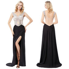 Long Beaded Cocktail High-Split Ball Gown Evening Backless Prom Party Maxi Dress