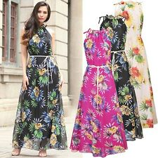 UK Plus Size 8-20 Ladies Summer Boho Party Evening Sleeveless Long Maxi Dress