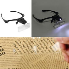 Headband Headset LED Head Light Magnifier Magnifying Glass Loupe 5 x Lens NEW DF