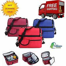 Picnic Lunch Shoulder Tote Box Bag Portable Thermal Insulated Cooler Ice Storage