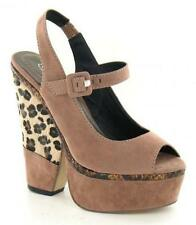 "SALE Spot On F10041 Taupe Leopard Print Synthetic Suede 6"" Block Heeled Sandals"