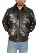 Mens Real Leather Aviator Flying Pilot Bomber Jacket Air Force Style Brown NEW