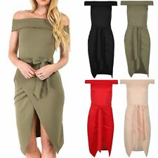 Womens Ladies Bodycon Wrap Over Belted Off The Shoulder Sleeveless Bardot Dress