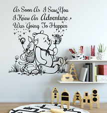 Winnie The Pooh Wall Decals Quote Decal Vinyl Stickers Baby Nursery Decor S86