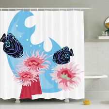 Ambesonne Animal Tropical Fish Cartoon Shower Curtain Set