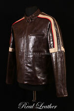 Mens WAR OF THE WORLDS Brown Glazed Lambskin Leather Movie Film Biker Jacket