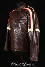 Mens WAR OF THE WORLDS Brown Lambskin Leather Tom Cruise Movie Film Biker Jacket