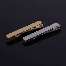 TIE CLIP Mens Boys Stainless Steel Clasp Bar Wedding Neck Silver Black Gold 6cm