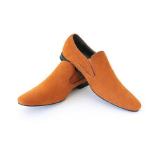 Mens Dress Shoes Camel Suede Slip on Bravo Berto 6 Pointed Toe Modern Loafers