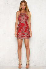 BNWT Angel Biba Red Gold Embroidered Cut Out Bodycon Cocktail Dress 8 10 - SALE!