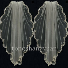 Wedding Veils White Ivory Lace Applique 1 T Cathedral Bridal Veil With Comb 2017