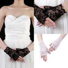 80s fingerless black lace gloves Ladies Fancy Dress Bridal Wedding Goth
