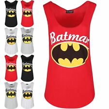 Womens Ladies Sleeveless Batman Printed Gymming Edge Jersey Curved Hem Vest Top