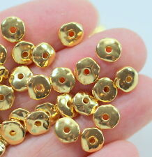 Nugget Beads, Tierracast, 7mm Coin Spacer Beads, Gold Plate, 20/100 Pcs, 3625