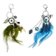 Retro Key Ring Feather Dream Catcher Charm Keychain Lobster Clasp Decor Gift