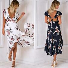Sexy Women Summer Boho Floral Beach Dress Evening Cocktail Long Maxi Dress R7L6