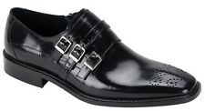 Men's Dress Shoes Monk Strap Plain Toe Oxford Black Leather STEVEN LAND SL0012