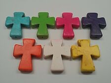 Synthetic Turquoise Cross Beads, Dyed Qty 2, 30x36x7mm Hole 1.7