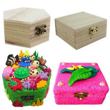 Wooden Unfinished Wood Box Jewelry Gift Boxes for Kids Toys DIY Craft Woodcrafts
