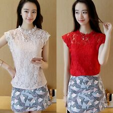 Korean Lace Floral Vest Women's Sleeveless Tops Summer Blouse Casual T-Shirt Tee