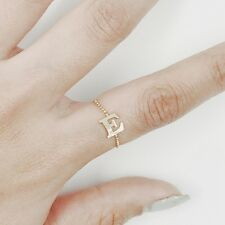 Initial Ring, Letter Ring, 14K Solid Gold Ball Chain Initial Ring Size 12