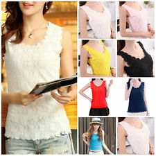 US Sexy Women Lady Lace Collar Vest Sleeve​less T-Shirt Tank Tops Blouse GW