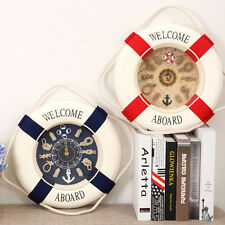 New Nautical LIFE RING BUOY WALL CLOCK Rope Seaside Theme Home Decor 25cm Wide