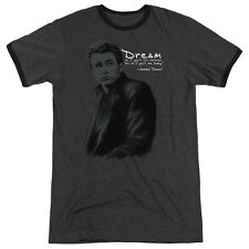 James Dean Trench Mens Adult Heather Ringer Shirt Charcoal