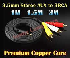 3.5mm AUX Straight Plug to 3RCA Audio Video DVD HDTV HD TV AV Cord Cable 3M 1.5M