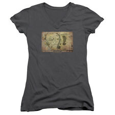 The Hobbit Middle Earth Map Juniors V-Neck Shirt