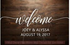 Welcome Wedding Vinyl Lettering Wall Decals Sticker Personalized Wed Sign Custom