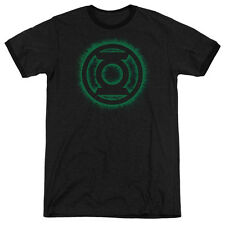 Green Lantern Green Flame Logo Mens Adult Heather Ringer Shirt Black