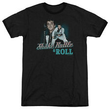 Elvis Presley Shake Rattle & Roll Mens Adult Heather Ringer Shirt Black