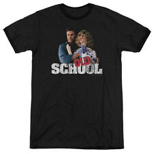 Old School Frank And Friend Mens Adult Heather Ringer Shirt Black