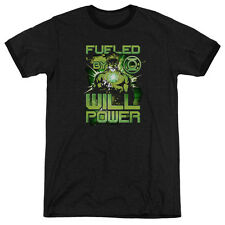 Green Lantern Fueled Mens Adult Heather Ringer Shirt Black