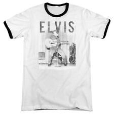 Elvis Presley With The Band Mens Adult Heather Ringer Shirt White/Black