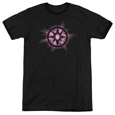 Green Lantern Sapphire Glow Mens Adult Heather Ringer Shirt Black