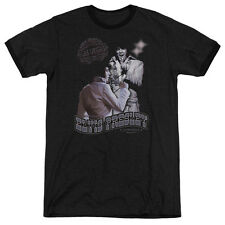 Elvis Presley Violet Vegas Mens Adult Heather Ringer Shirt Black