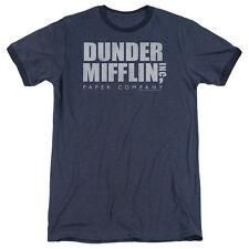 The Office Dunder Mifflin Distressed Mens Adult Heather Ringer Shirt Navy