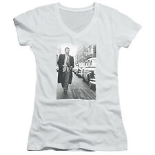James Dean On The Street Juniors V-Neck Shirt White