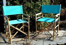 Set of 2 Folding Chairs Bamboo Blue Green patio porch indoor outdoor deck chair