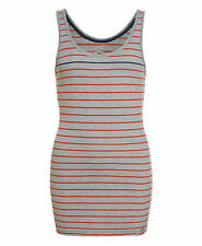 New Womens Superdry Factory Second Stripey Classic Tank Top Grey Marl