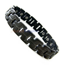 Accents Kingdom Mens Gun Metal Magnetic Titanium Golf Bracelet T21 New