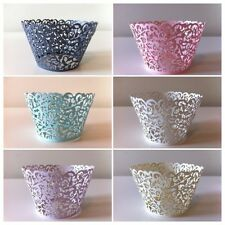 Pearl white/pink/yellow/purple/black and blue Vine Lace Cup Cake Wrappers