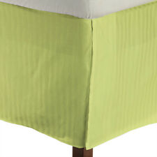 1 Qty Bed Skirt 100% Egyptian Cotton 1000 TC Sage Stripe Deep Pkt 15 Inch