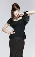 Punk Rave Gothic Goth Burlesque Black Lace & Mesh Top With Choker Victorian