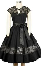 Chicstar Rockabilly 1950's Pin Up Lisa Swing Dress Black Lace Panels Satin Sash