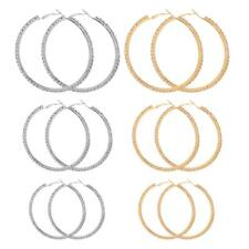 Charm Women's Girls Gold Silver Metal Crystal Smooth Big Large Hoop Earrings
