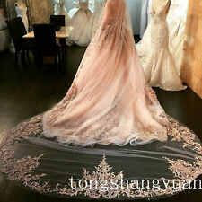 Custom Champagne Lace Bridal Veils Cathedral Ivory White Wedding Veil With Comb