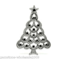 Wholesale Lots Silver Tone Christmas Tree Charm DIY Pendants 5.2x3.6cm GW
